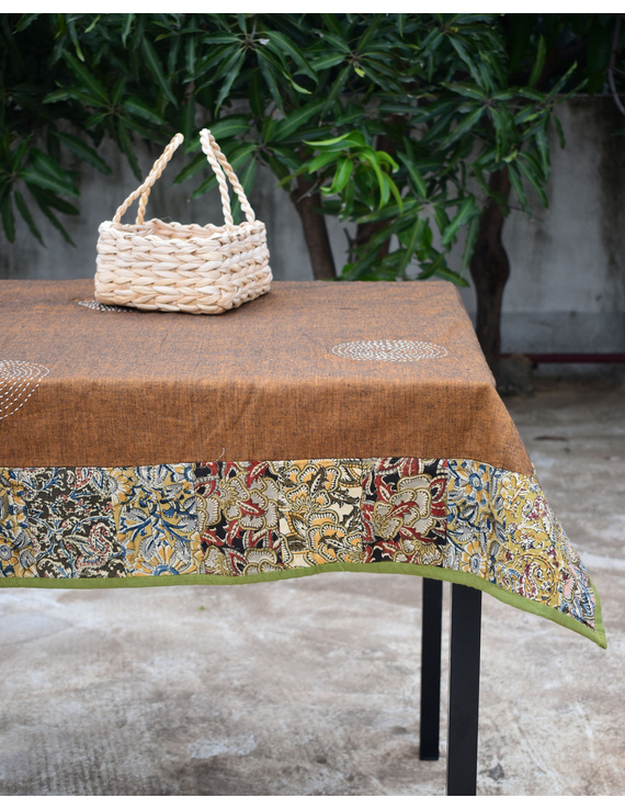 Six - eight seater patchwork table cloth with brown and green border: TBCR01E-TBCR01E