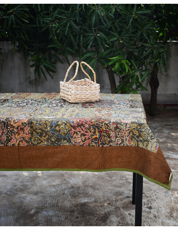 Six - eight seater patchwork table cloth with brown and green border: TBCR01E-2
