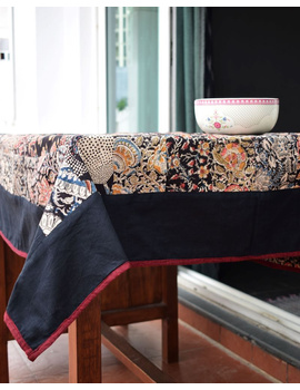 Square reversible patchwork table cloth in black and maroon : TBCS01A-2-sm