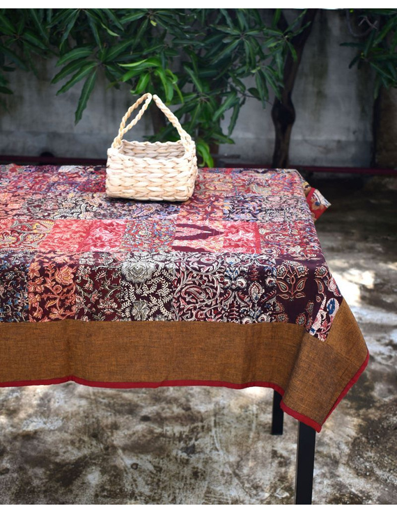 Square reversible patchwork table cloth in ochre and rust: TBCS01B-TBCS01B
