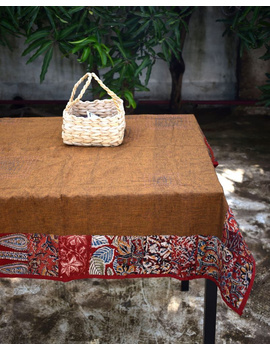 Square reversible patchwork table cloth in ochre and rust: TBCS01B-1-sm