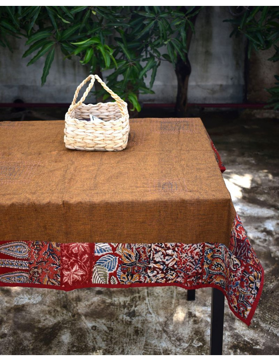 Square reversible patchwork table cloth in ochre and rust: TBCS01B-1