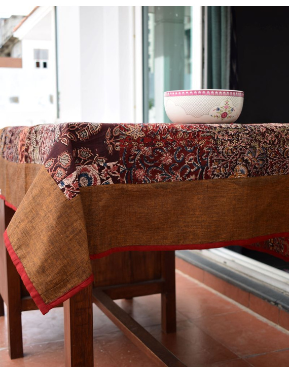 Square reversible patchwork table cloth in ochre and rust: TBCS01B-2