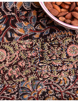 Square reversible patchwork table cloth in ochre and rust: TBCS01B-3-sm