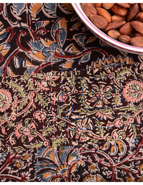 Square reversible patchwork table cloth in ochre and rust: TBCS01B-3