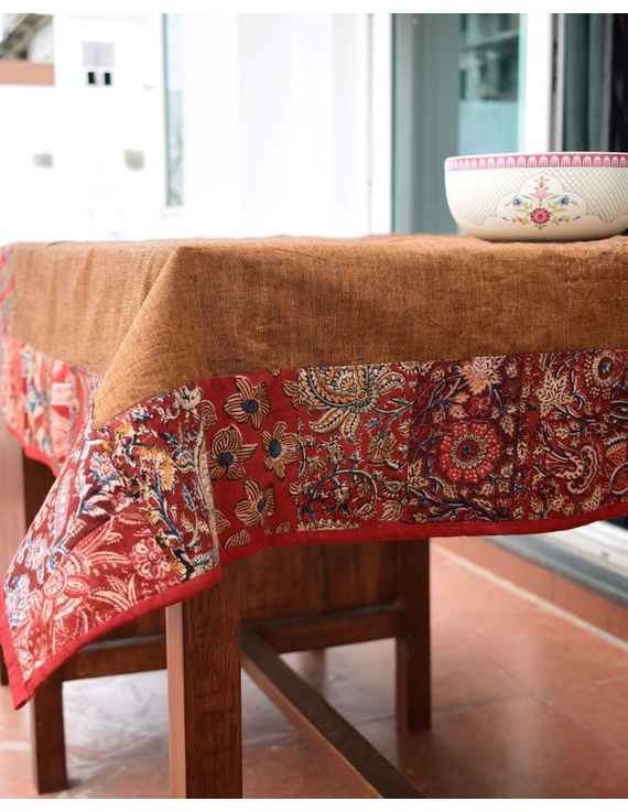 Square reversible patchwork table cloth in ochre and rust: TBCS01B-5