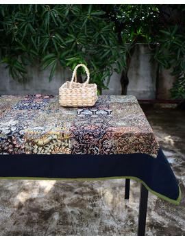 Square reversible patchwork table cloth black and green: TBCS01C-TBCS01C-sm