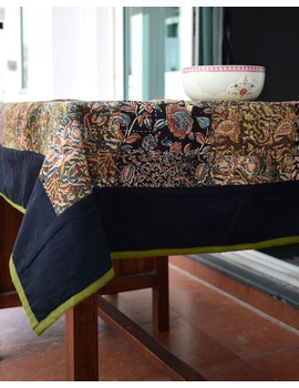 Square reversible patchwork table cloth black and green: TBCS01C-2-sm