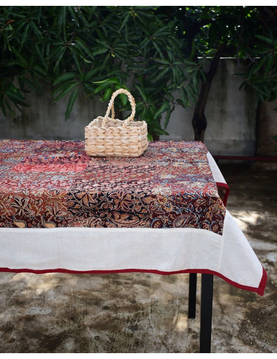 Square reversible patchwork table cloth in ochre and white: TBCS01D-TBCS01D