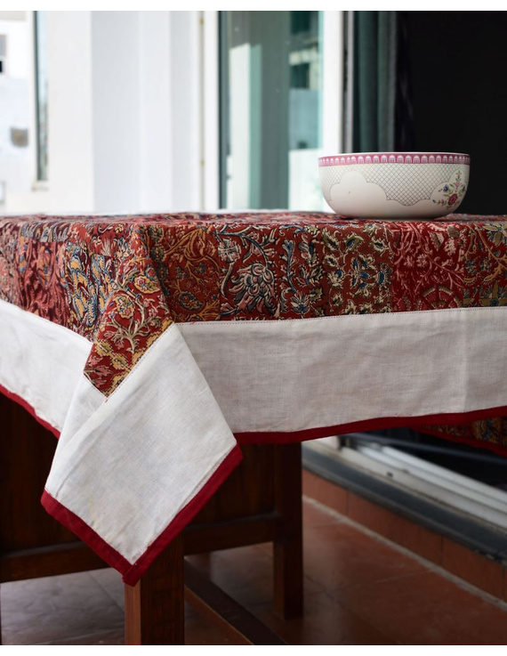 Square reversible patchwork table cloth in ochre and white: TBCS01D-2