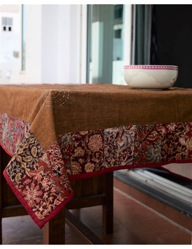 Square reversible patchwork table cloth in ochre and white: TBCS01D-4-sm