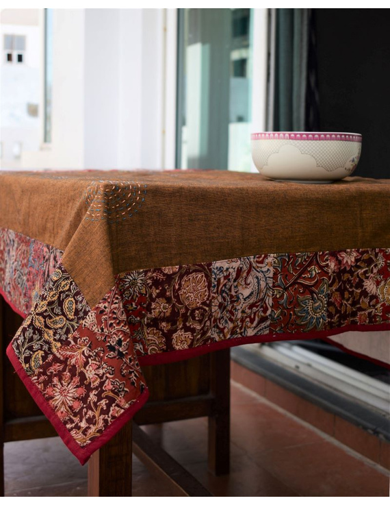 Square reversible patchwork table cloth in ochre and white: TBCS01D-4