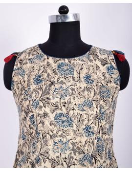BLUE FLORAL KALAMKARI DRESS WITH A BOAT NECK : LD480C-L-2-sm