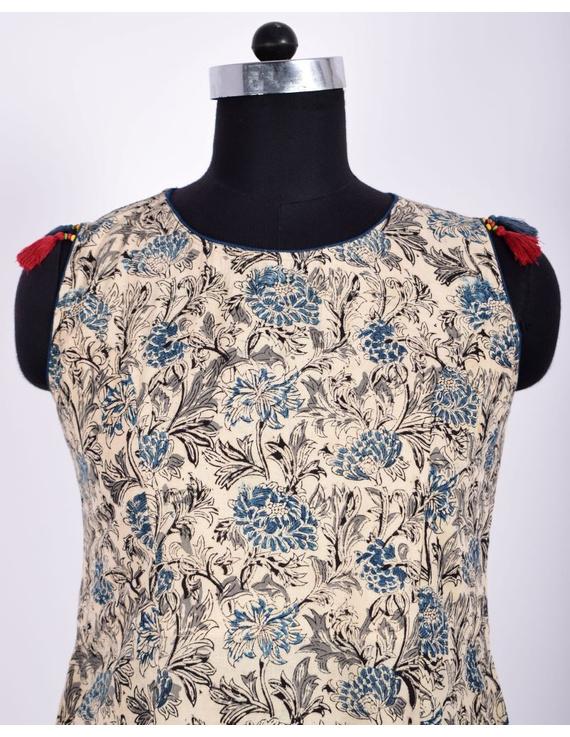 BLUE FLORAL KALAMKARI DRESS WITH A BOAT NECK : LD480C-M-2