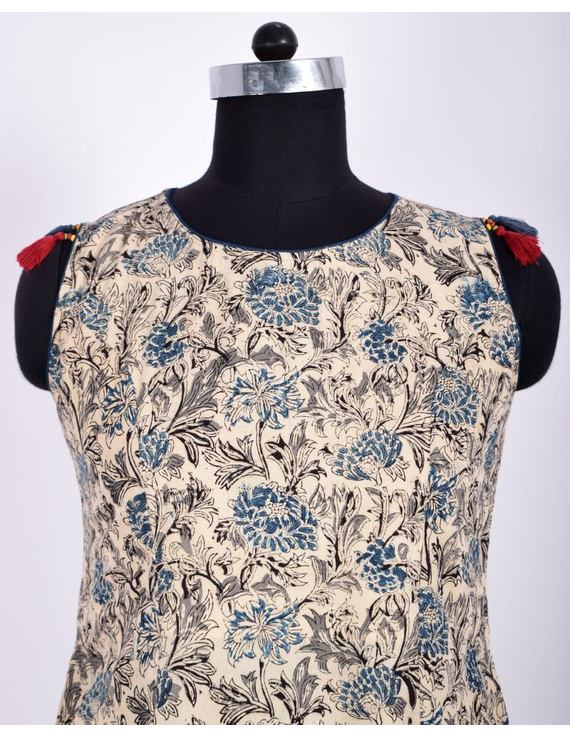 BLUE FLORAL KALAMKARI DRESS WITH A BOAT NECK : LD480C-S-2