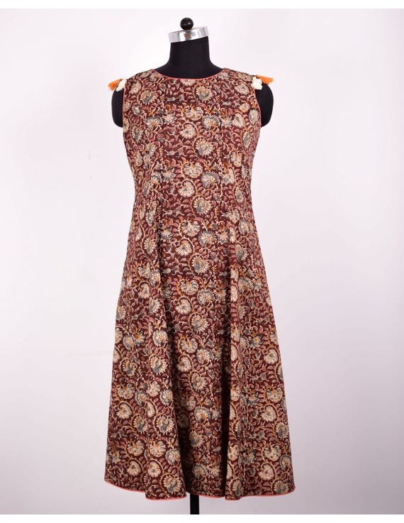BROWN FLORAL KALAMKARI LONG DRESS WITH A BOAT NECK: LD480D-LD480D-L