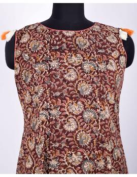 BROWN FLORAL KALAMKARI LONG DRESS WITH A BOAT NECK: LD480D-M-2-sm