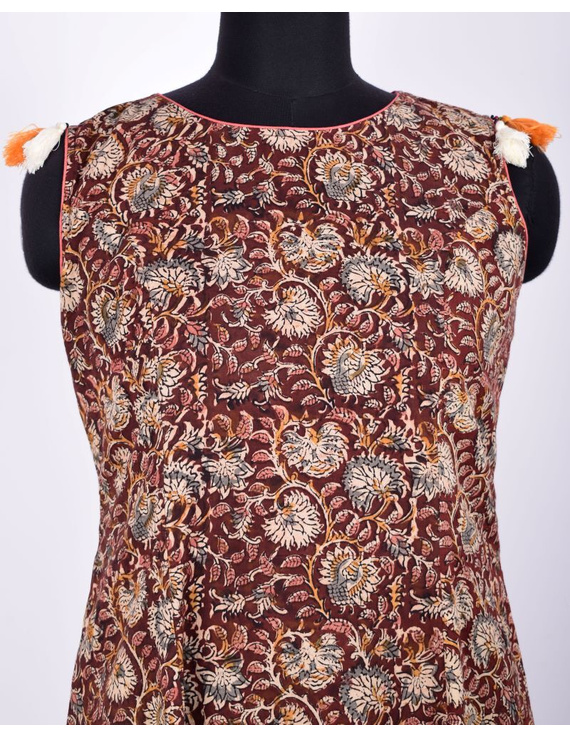 BROWN FLORAL KALAMKARI LONG DRESS WITH A BOAT NECK: LD480D-M-2