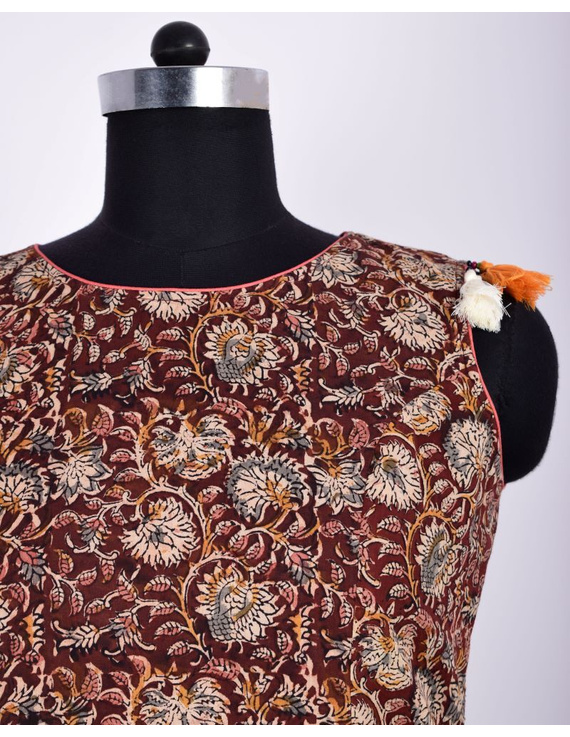 BROWN FLORAL KALAMKARI LONG DRESS WITH A BOAT NECK: LD480D-M-3