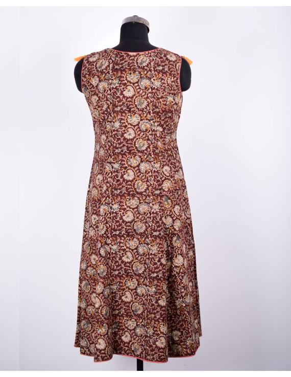 BROWN FLORAL KALAMKARI LONG DRESS WITH A BOAT NECK: LD480D-S-1