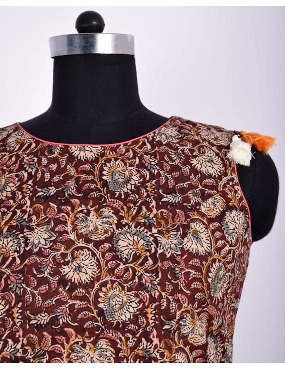 BROWN FLORAL KALAMKARI LONG DRESS WITH A BOAT NECK: LD480D-S-3