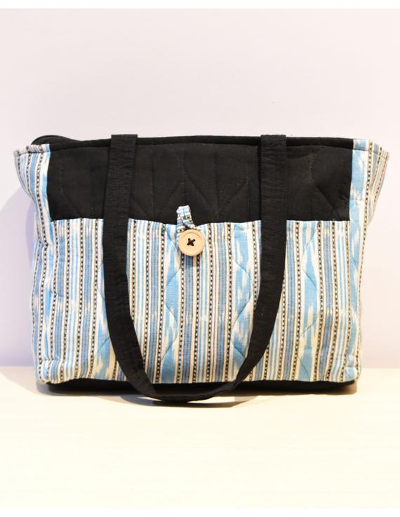 BLUE IKAT STRIPE PURSE BAG WITH POCKETS: TBD02-TBD02