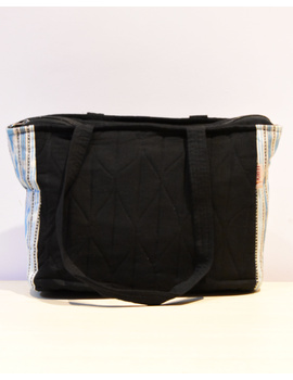 BLUE IKAT STRIPE PURSE BAG WITH POCKETS: TBD02-1-sm