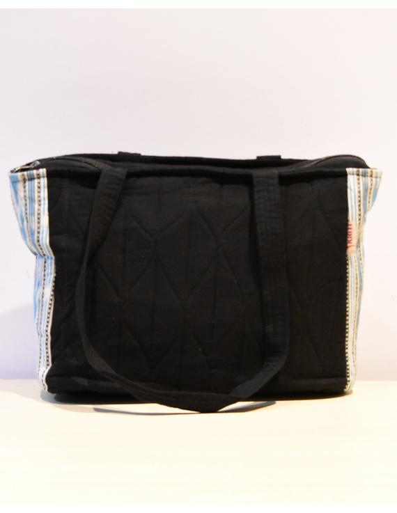 BLUE IKAT STRIPE PURSE BAG WITH POCKETS: TBD02-1
