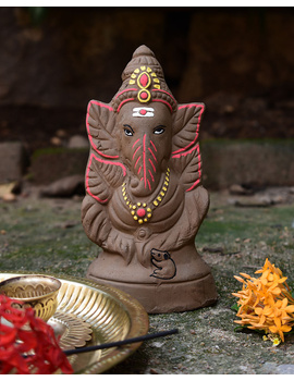 """Eco-friendly clay ganesha 8"""" idol leaf theme-GCI01-sm"""