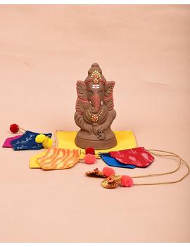 """Eco-friendly clay ganesha 8"""" idol leaf theme with a silk toran and """"aasan"""" cloth-GCI03-sm"""