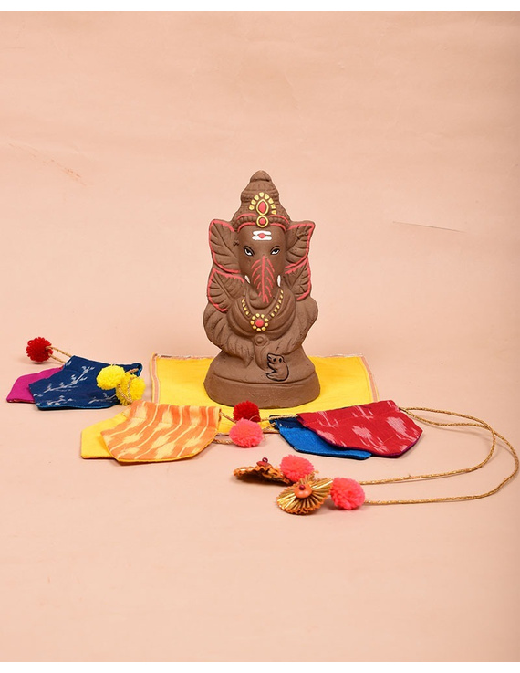 """Eco-friendly clay ganesha 8"""" idol leaf theme with a silk toran and """"aasan"""" cloth-GCI03"""
