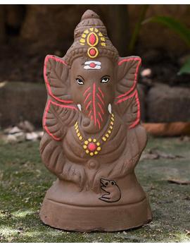 """Eco-friendly clay ganesha 8"""" idol leaf theme with a silk toran and """"aasan"""" cloth-2-sm"""