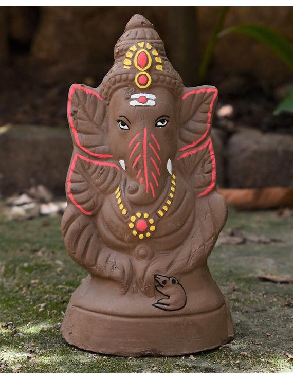 """Eco-friendly clay ganesha 8"""" idol leaf theme with a silk toran and """"aasan"""" cloth-2"""