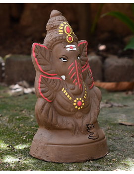 """Eco-friendly clay ganesha 8"""" idol leaf theme with a silk toran and """"aasan"""" cloth-3-sm"""