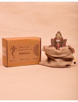 """Eco-friendly clay ganesha 8"""" idol leaf theme with a silk toran and """"aasan"""" cloth-4-sm"""