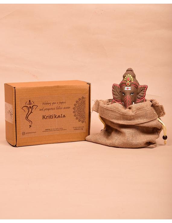 """Eco-friendly clay ganesha 8"""" idol leaf theme with a silk toran and """"aasan"""" cloth-4"""