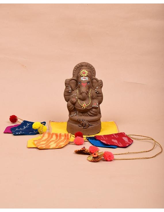 """Eco-friendly clay ganesha 8"""" idol with a silk toran and """"aasan"""" cloth-GCI04"""