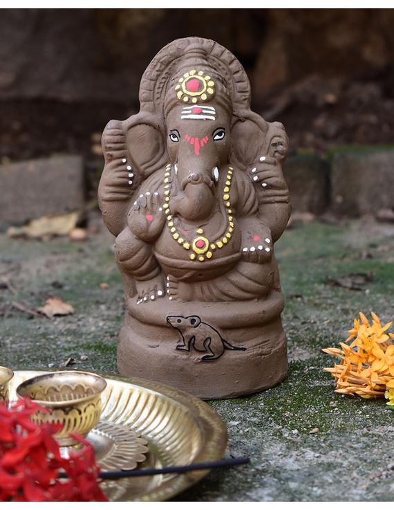 """Eco-friendly clay ganesha 8"""" idol with a silk toran and """"aasan"""" cloth-1"""