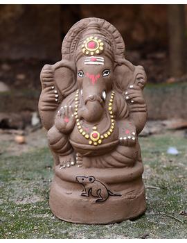 """Eco-friendly clay ganesha 8"""" idol with a silk toran and """"aasan"""" cloth-2-sm"""