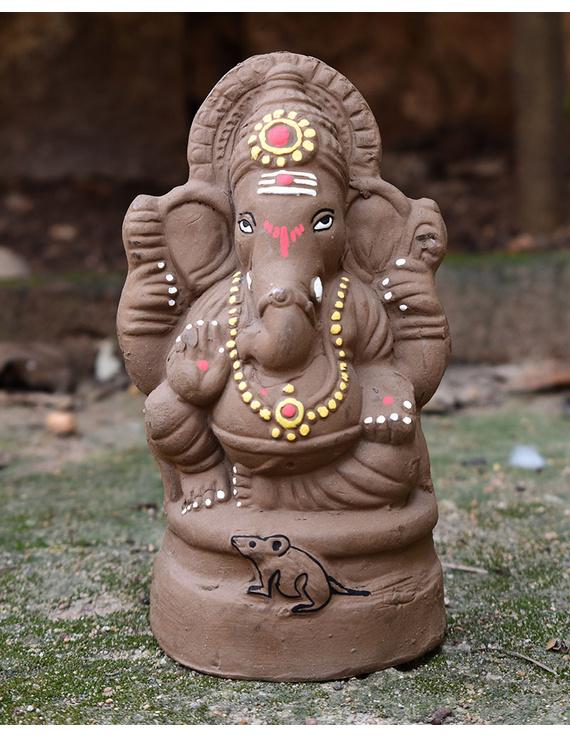 """Eco-friendly clay ganesha 8"""" idol with a silk toran and """"aasan"""" cloth-2"""