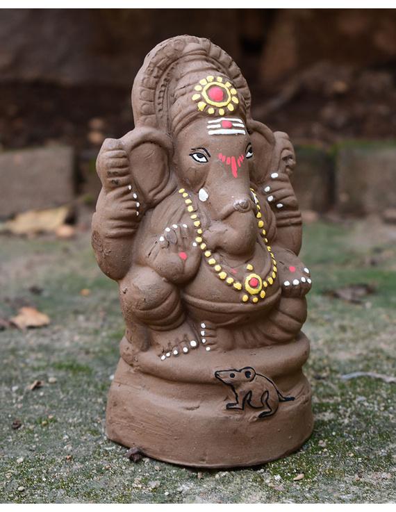 """Eco-friendly clay ganesha 8"""" idol with a silk toran and """"aasan"""" cloth-3"""
