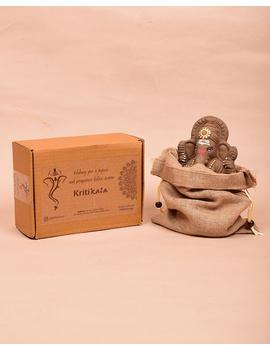 """Eco-friendly clay ganesha 8"""" idol with a silk toran and """"aasan"""" cloth-4-sm"""