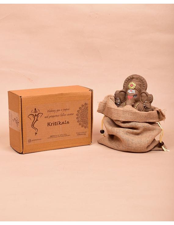 """Eco-friendly clay ganesha 8"""" idol with a silk toran and """"aasan"""" cloth-4"""