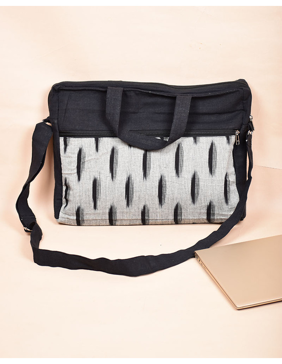 Ikat Laptop Bag with Cross body strap : Black : LBM03-1