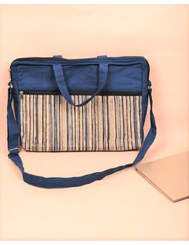 Kalamkari Laptop bag With Cross Body Strap - Blue : LBM01-1-sm