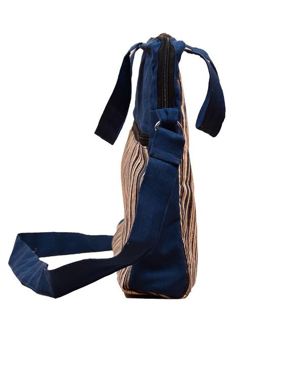 Kalamkari Laptop bag With Cross Body Strap - Blue : LBM01-3