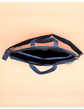 Kalamkari Laptop bag With Cross Body Strap - Blue : LBM01-4-sm