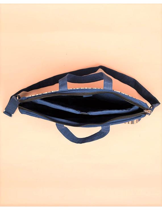 Kalamkari Laptop bag With Cross Body Strap - Blue : LBM01-4