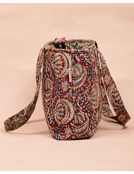 Red and green flowers kalamkari tote bag : TBC06-3-sm