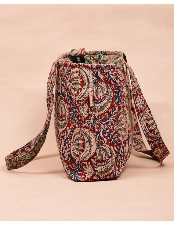 Red and green flowers kalamkari tote bag : TBC06-3